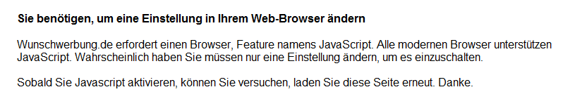 Wunschwerbung javascript disabled notification